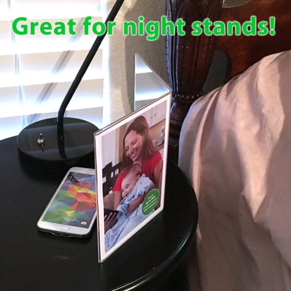 "SYB Angled Acrylic Table Top Picture Frame to Shield EMF Radiation, Holds Two 5""x7"" Photos"