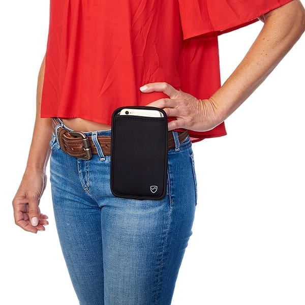With our SYB Phone Pouch, you can carry your phone more safely. The powerful shielding material that lines the back of the Phone Pouch and deflects up to 99.9% of cell phone radiation – including 5G Our Phone Pouch uses well established science. Inside each Pouch is a layer of fabric, interwoven with gossamer thin metallic threads that form a shield to deflect EMF radiation, working much like a Faraday cage.