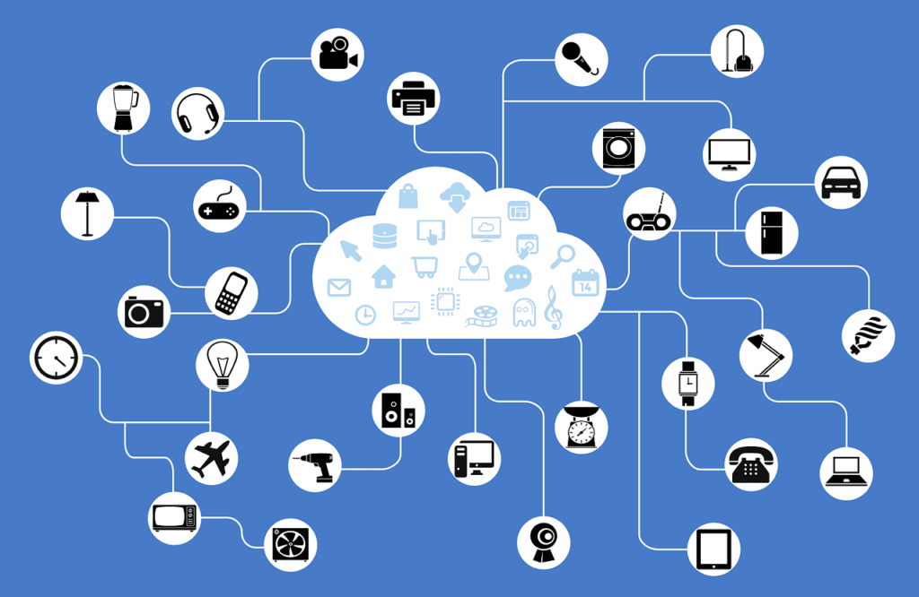 IoT internet of things diagram of devices and cloud